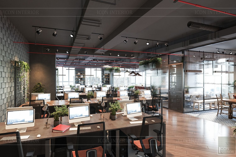 thi công nội thất văn phòng phong cách Industrial thông thoáng