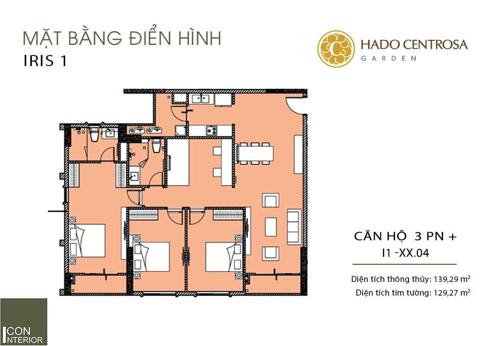 Mặt bằng căn hộ Hà Đô Centrosa I1-xx.04
