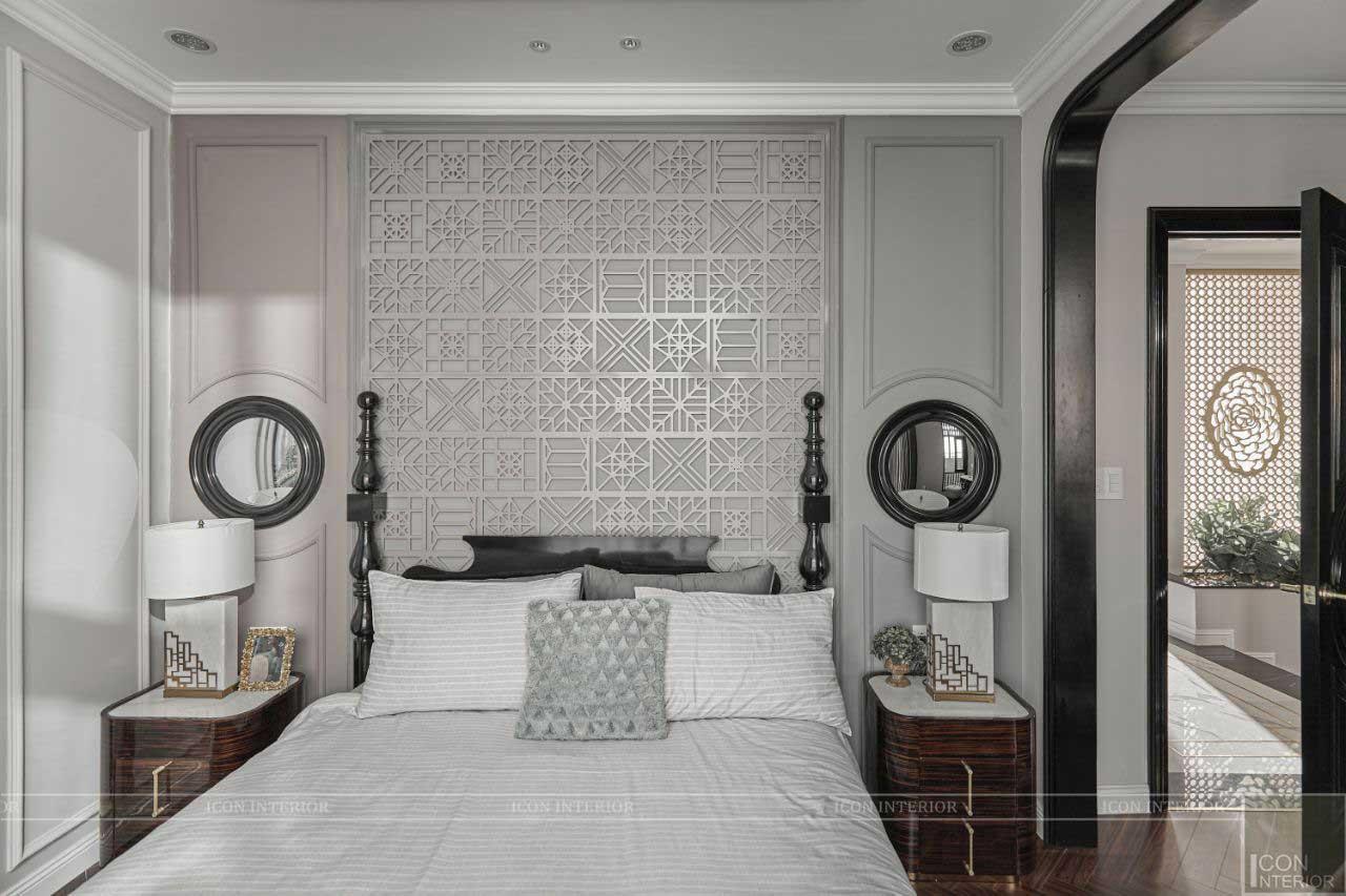 phòng ngủ phong cách indochine biệt thự long an