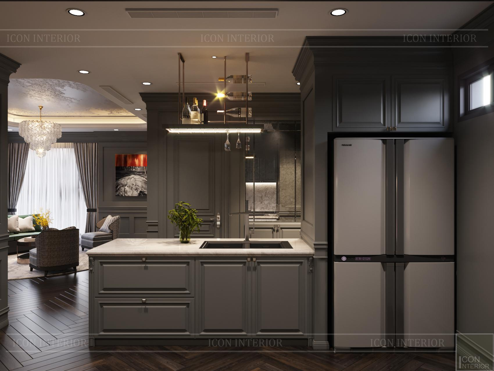 Thiết kế căn hộ 100m2 Kingdom 101 phòng khách bếp