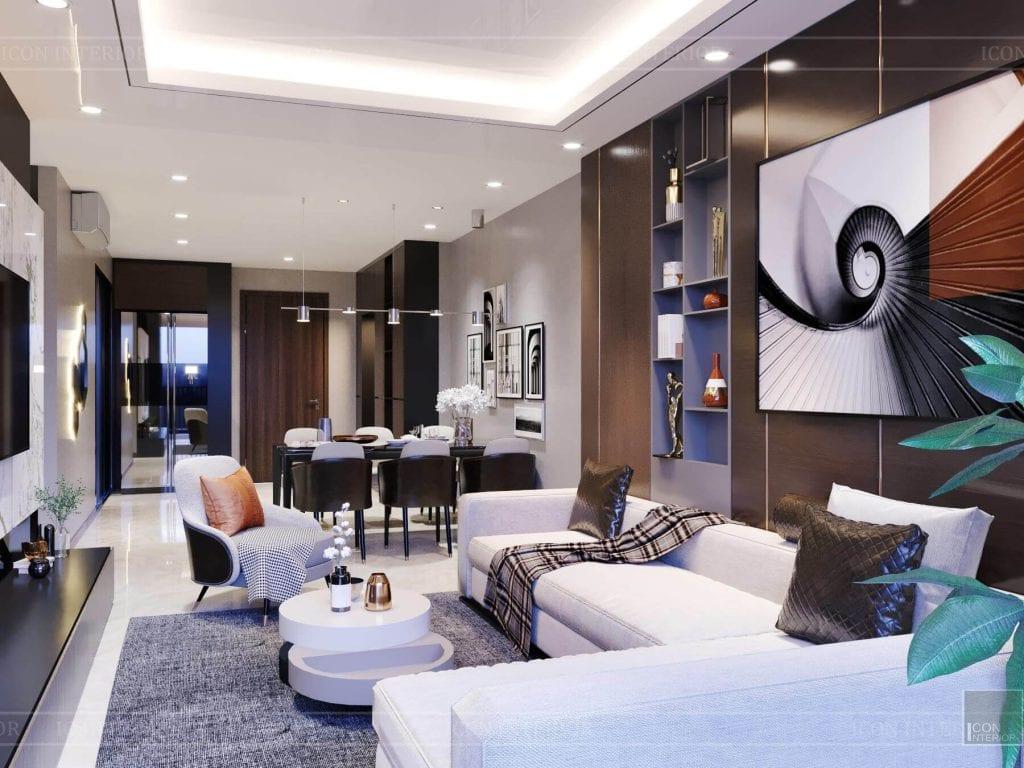 Nội thất căn hộ Hado Centrosa - phòng khách