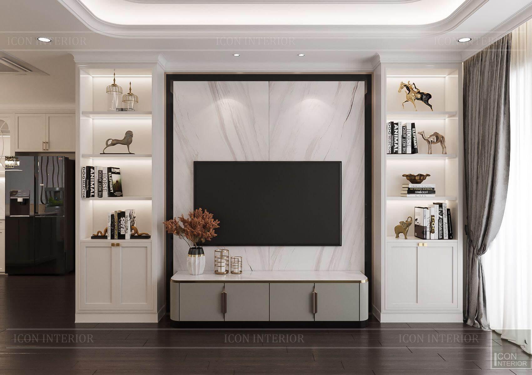 Thiết kế nội thất căn hộ Hà Đô Centrosa- vách tivi