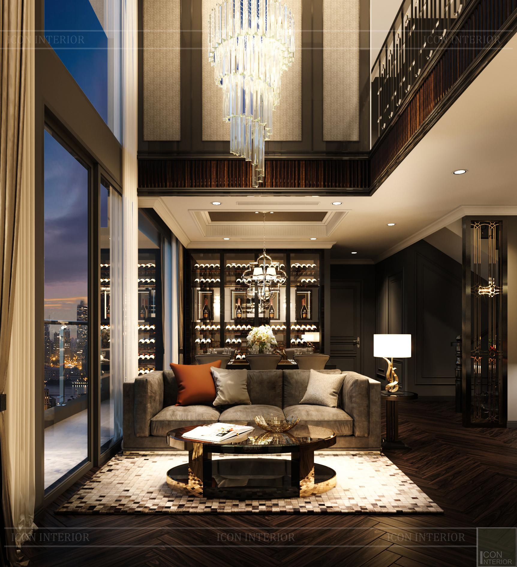 thiết kế căn hộ penthouse kingdom 101 - phòng khách