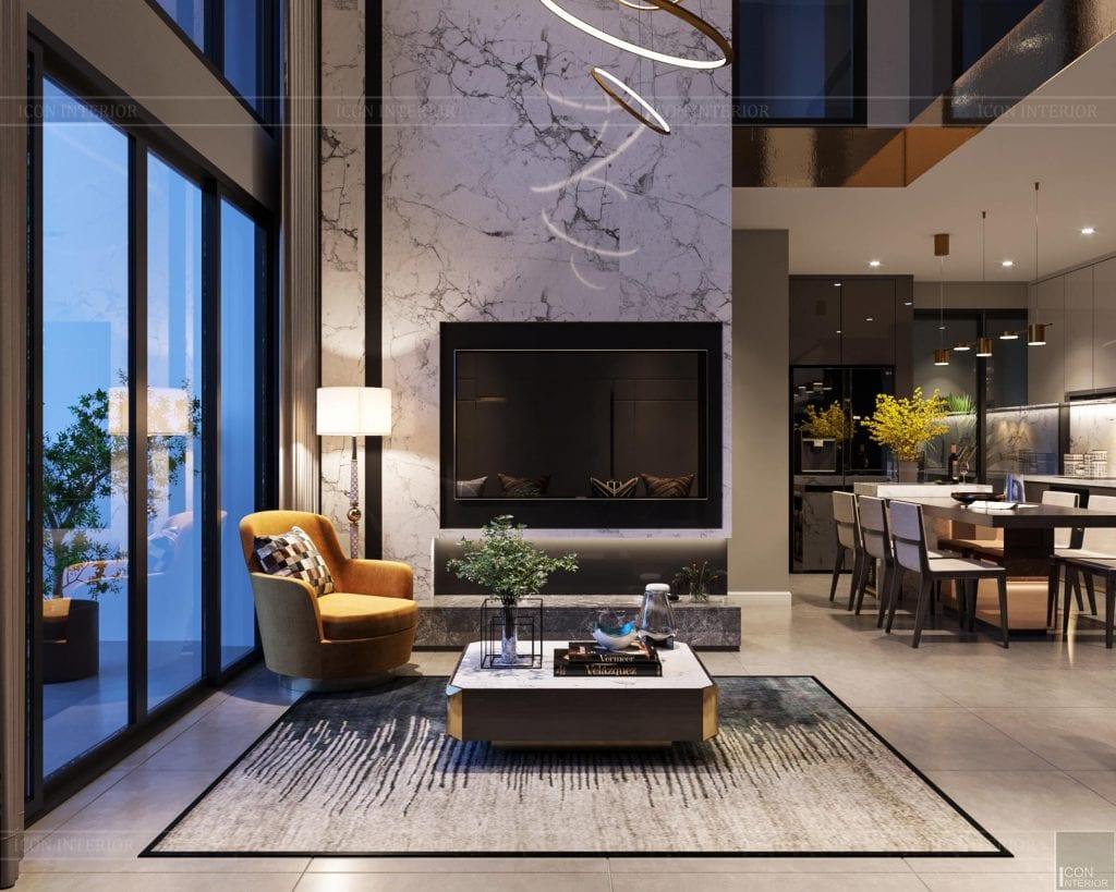 Ý tưởng thiết kế nội thất chung cư 100m2 Phú Đông Sky Garden phòng khách bếp