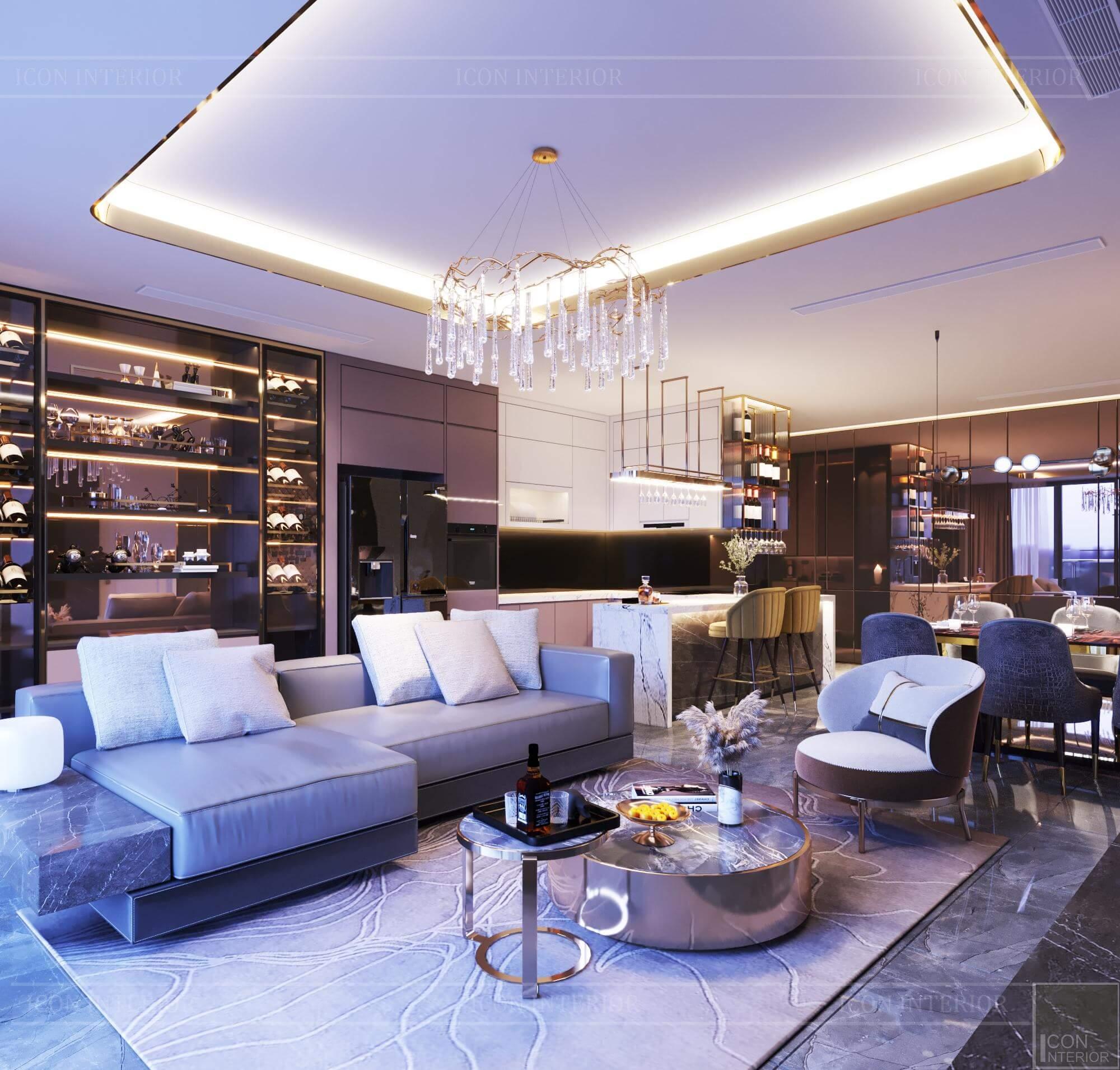 Thiết kế nội thất căn hộ Vinhomes BaSon Ms.TINA - phòng khách bếp