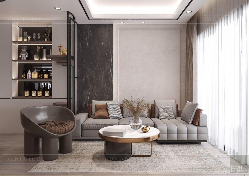 Thiết kế nội thất căn hộ Feliz En Vista ms.Hà B.17.10 - phòng khách