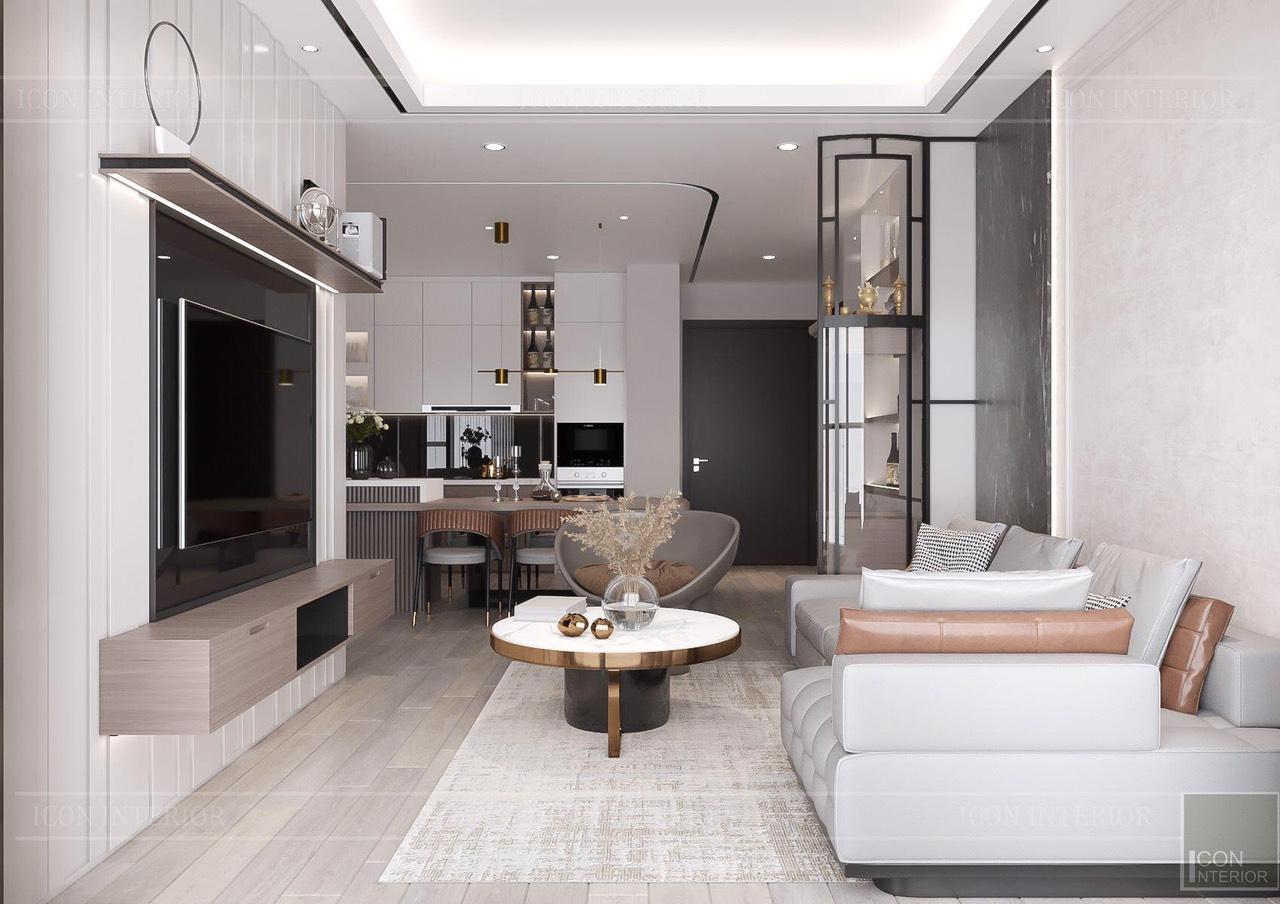 Thiết kế nội thất căn hộ Feliz En Vista ms.Hà B.17.10 - phòng khách bếp