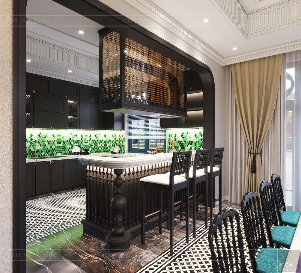 Mẫu thiết kế nội thất nhà bếp biệt thự 5 tầng