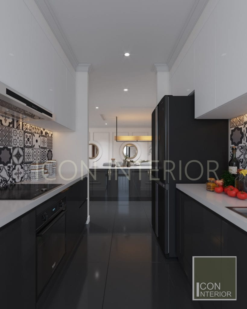 Tủ bếp chung cư chữ U cho không gian thêm rộng mở