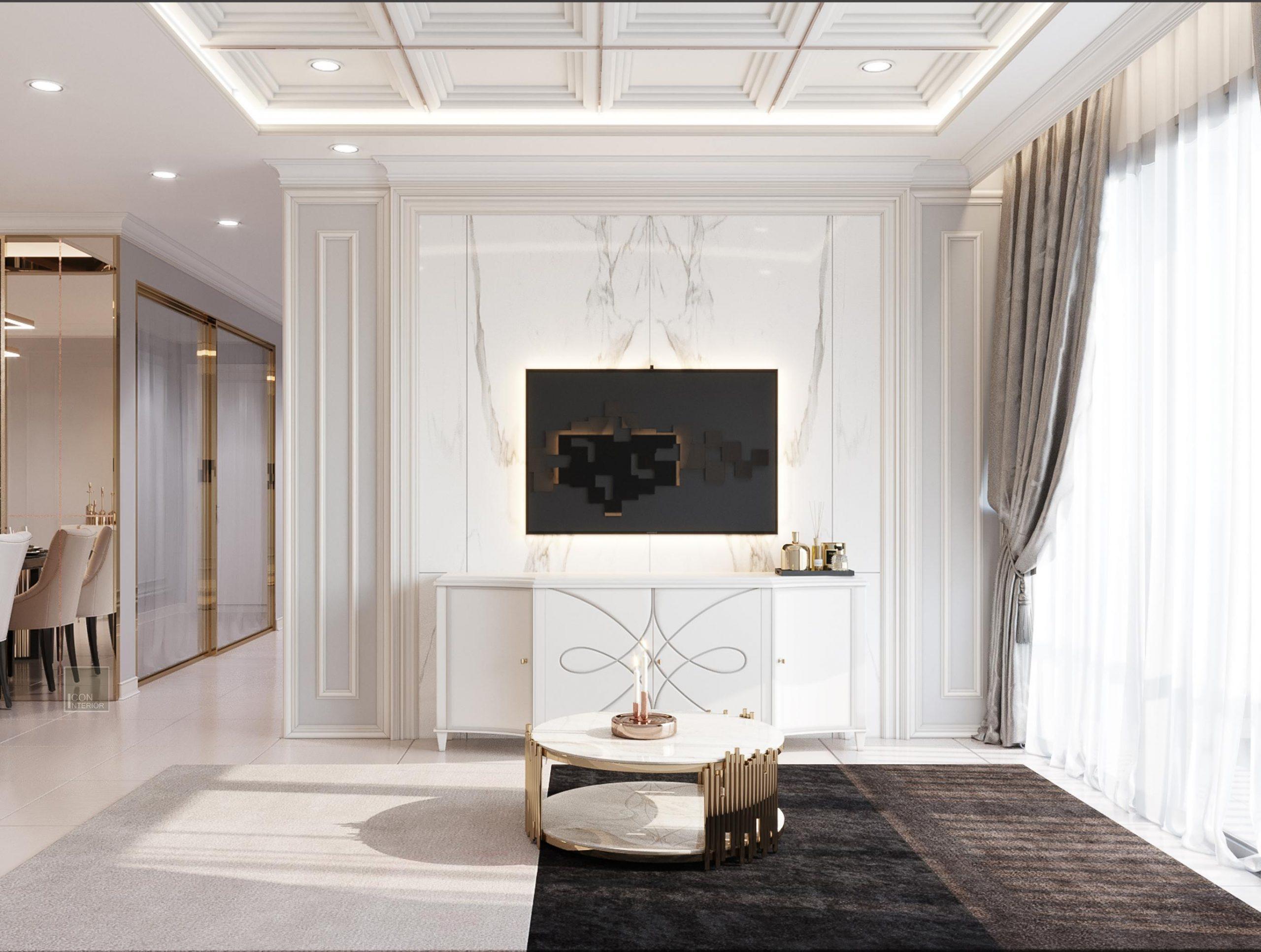 trang trí nội thất phòng khách neoclassic