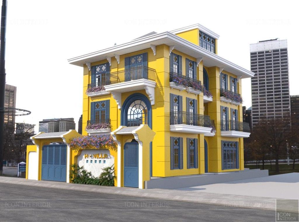 Màu sơn nhà ngoài trời tông nóng