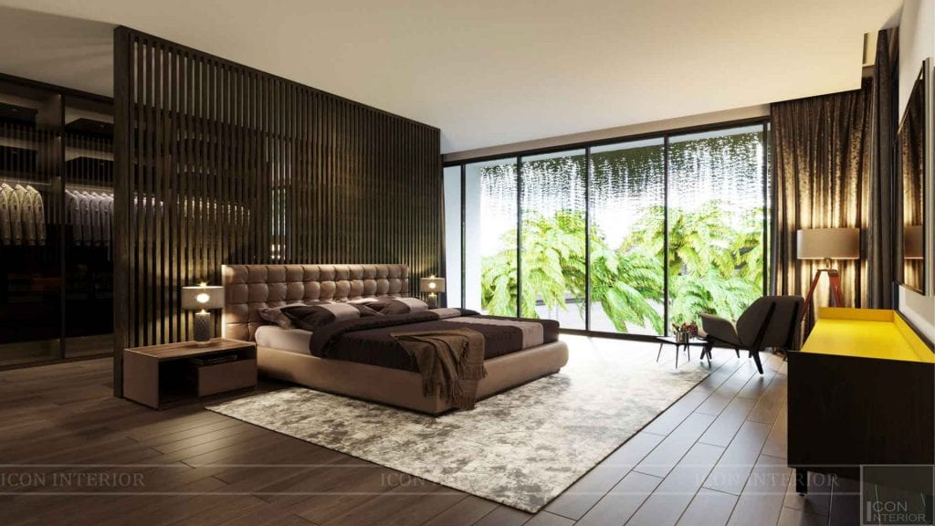 Phòng ngủ trong thiết kế mở thật rộng rãi, thoải mái