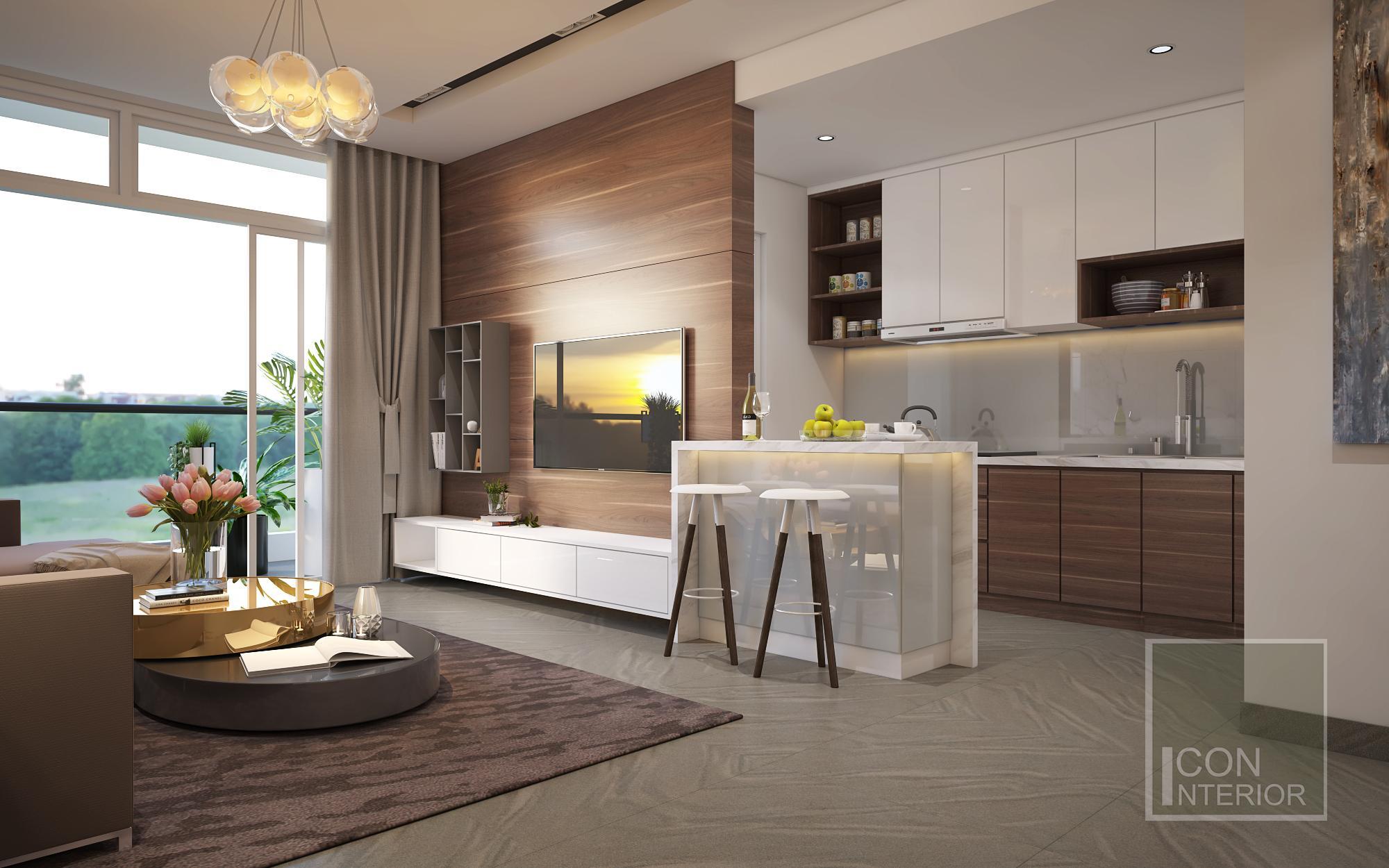Thiết kế tủ bếp mdf cho không gian mở