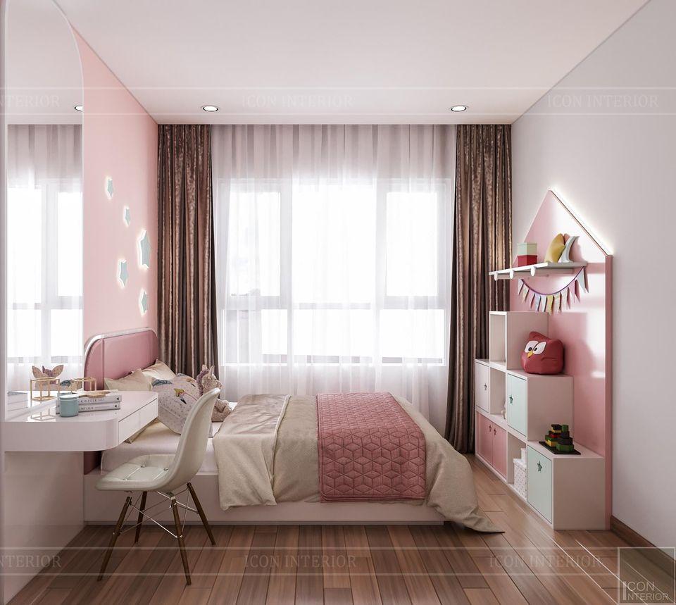 Phòng ngủ bé gái sơn màu hồng dễ thương