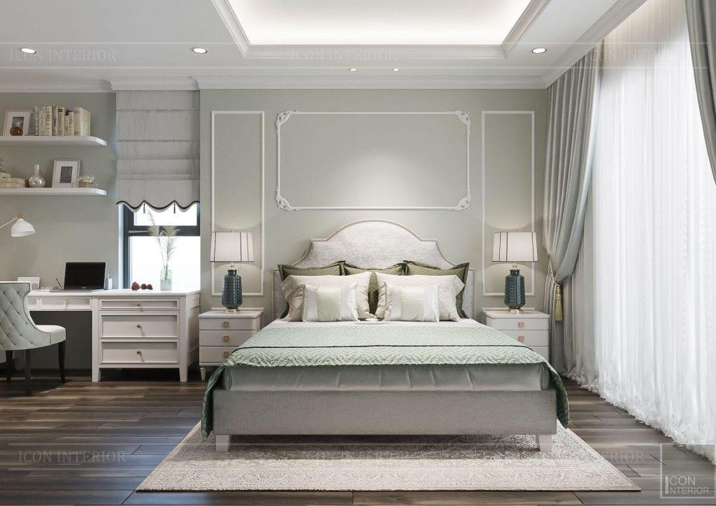 Phòng ngủ màu xanh ngọc tao nhã