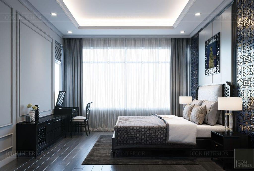 Thiết kế phòng ngủ màu sơn xám xanh mát mẻ, dễ chịu