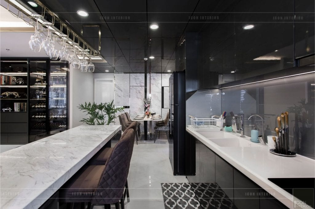 Thiết kế tủ bếp chung cư có quầy bar