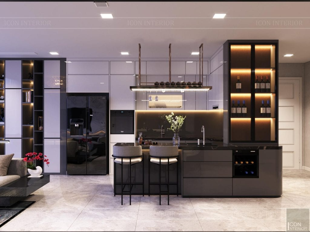 Mẫu tủ bếp MFC thiết kế chung cư