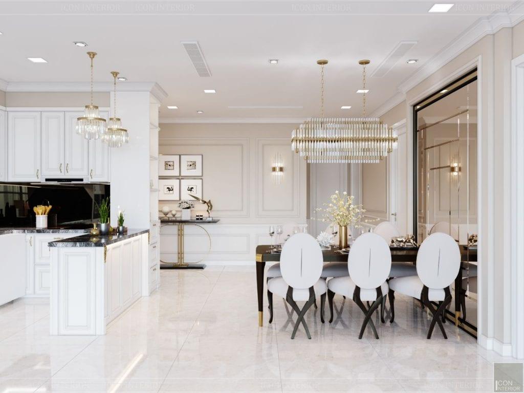 Tủ bếp MFC sơn trắng ấn tượng