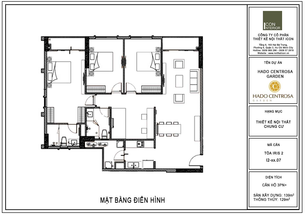 Mặt bằng căn hộ Hado Centrosa 139m2 Mr.Toàn