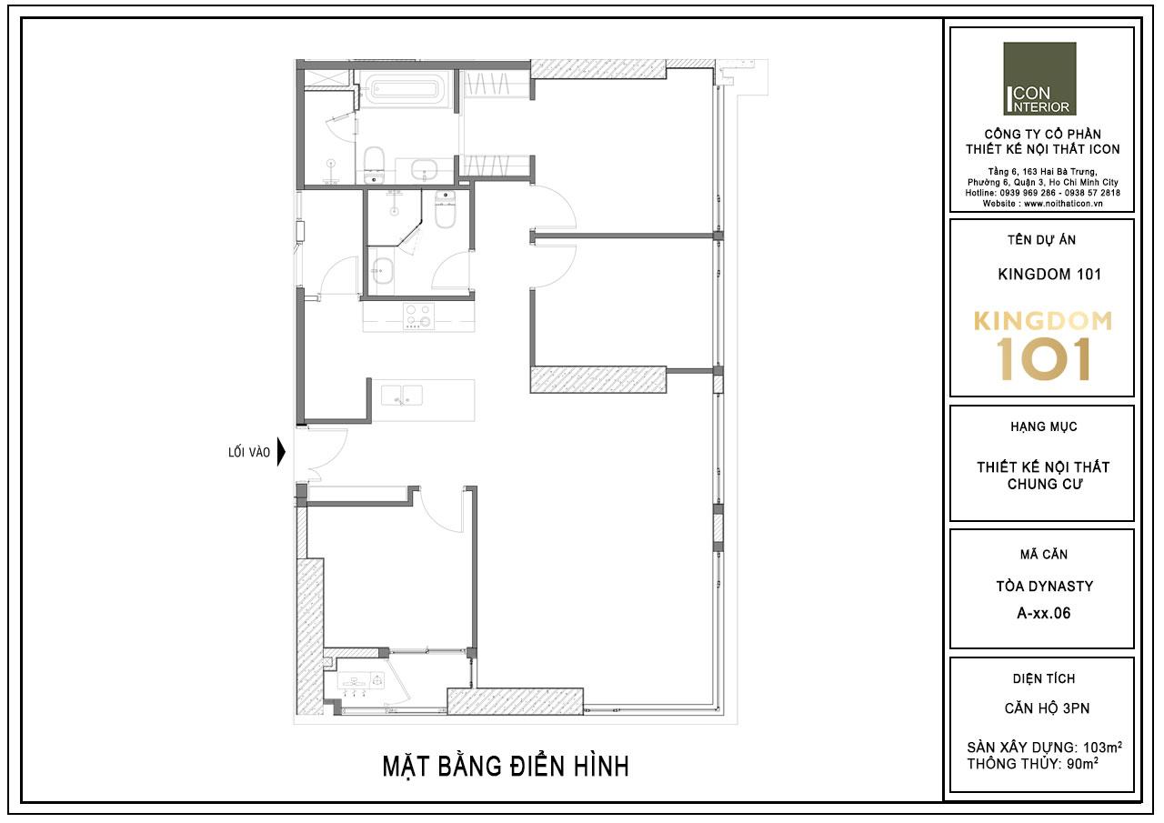 thiết kế căn hộ chung cư 90m2 kingdom 101