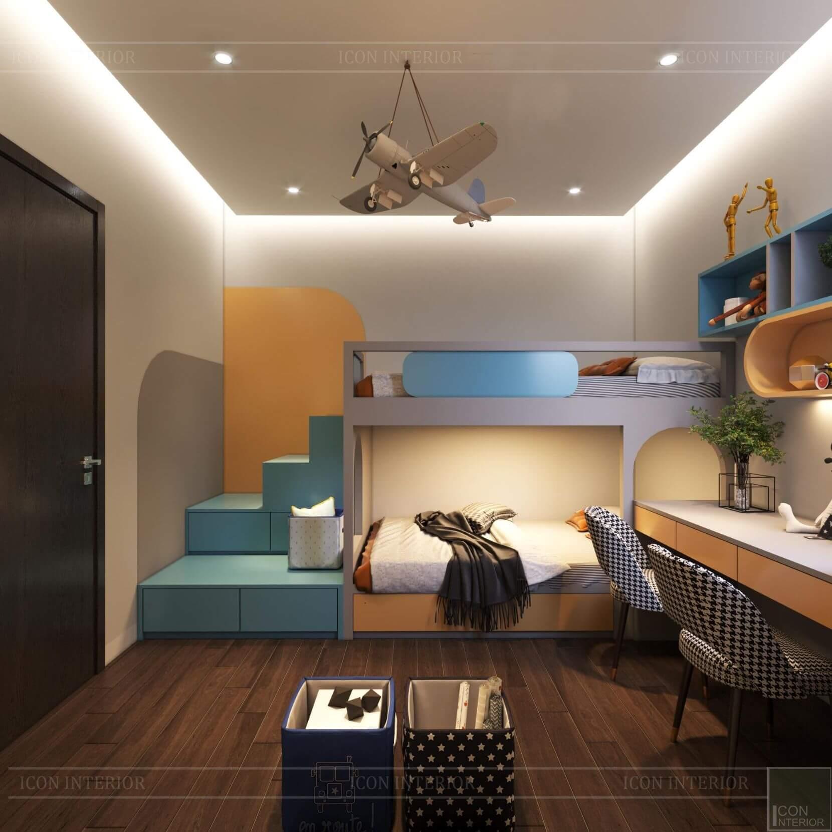 Thiết kế phòng ngủ trẻ em nội thất chung cư 70m2