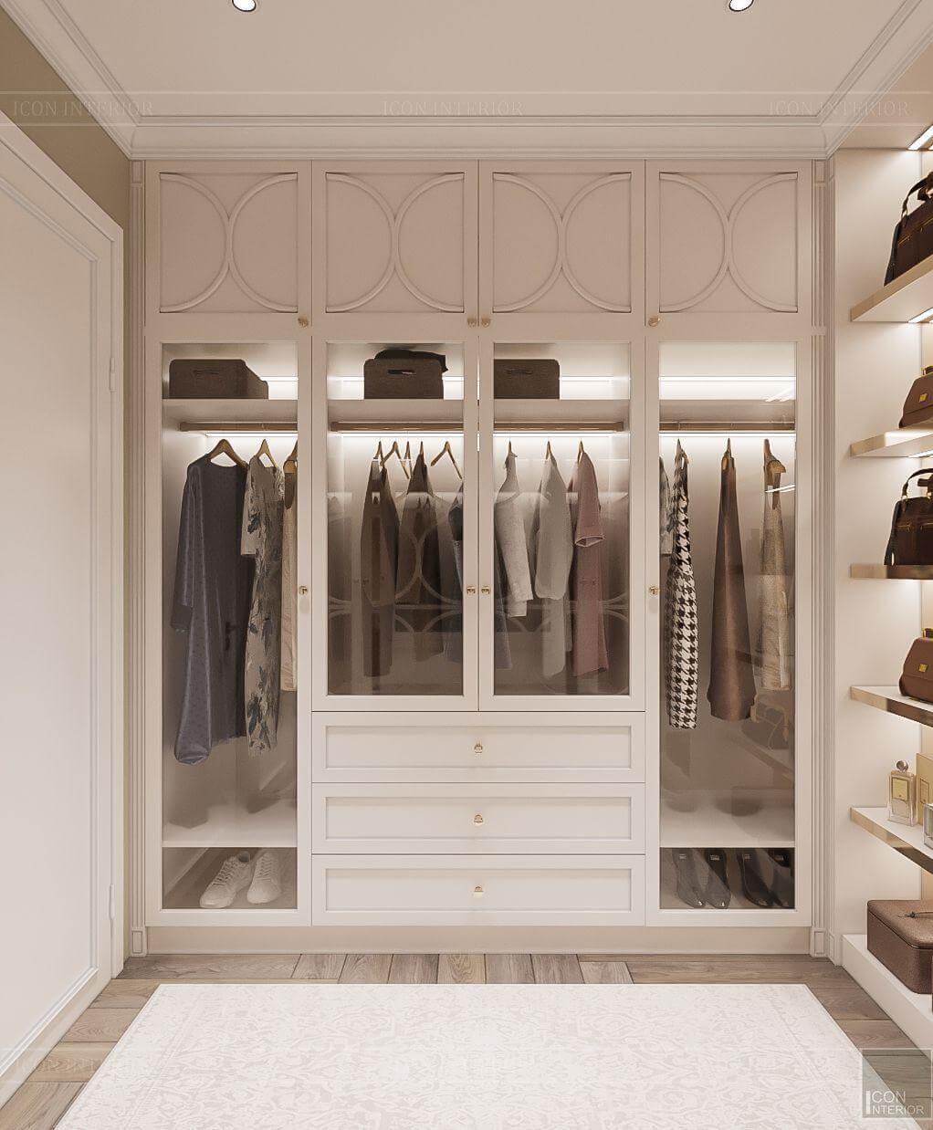 Thiết kế closet căn hộ Hado Centrosa 139m2 3PN