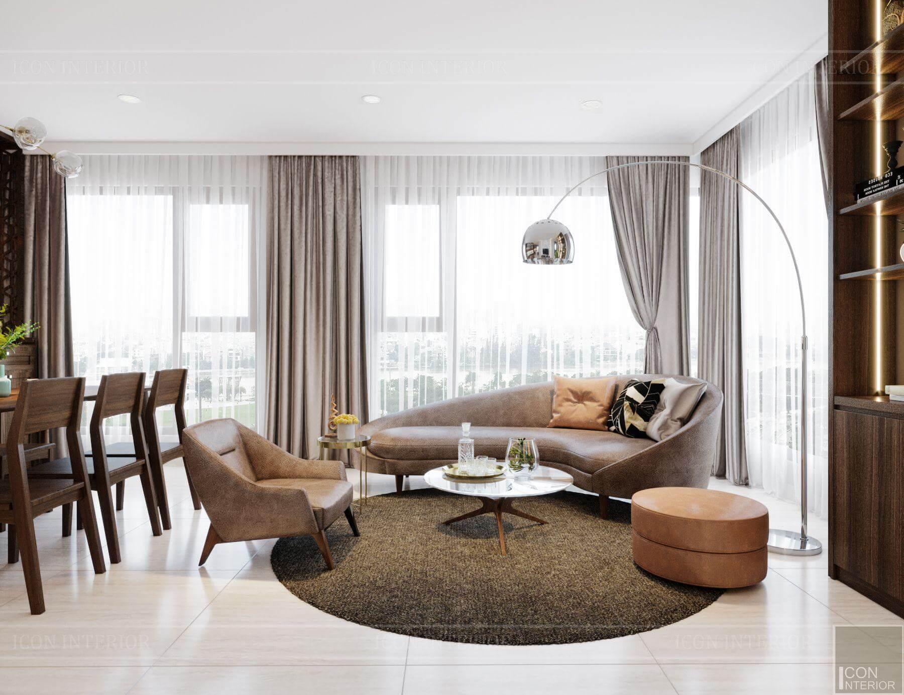 thiết kế nội thất phòng khách căn hộ chung cư 90m2