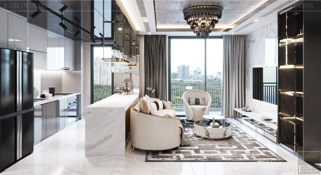 Phòng khách căn hộ Vinhomes Central Park 90m2 Ms. Linh