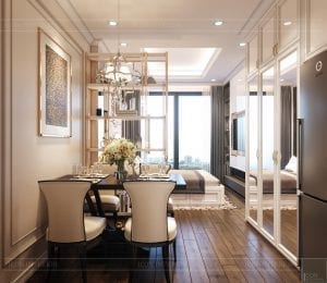 thiết kế nội thất căn hộ Officetel Masteri Millennium 42m2 Ms. Mẫn