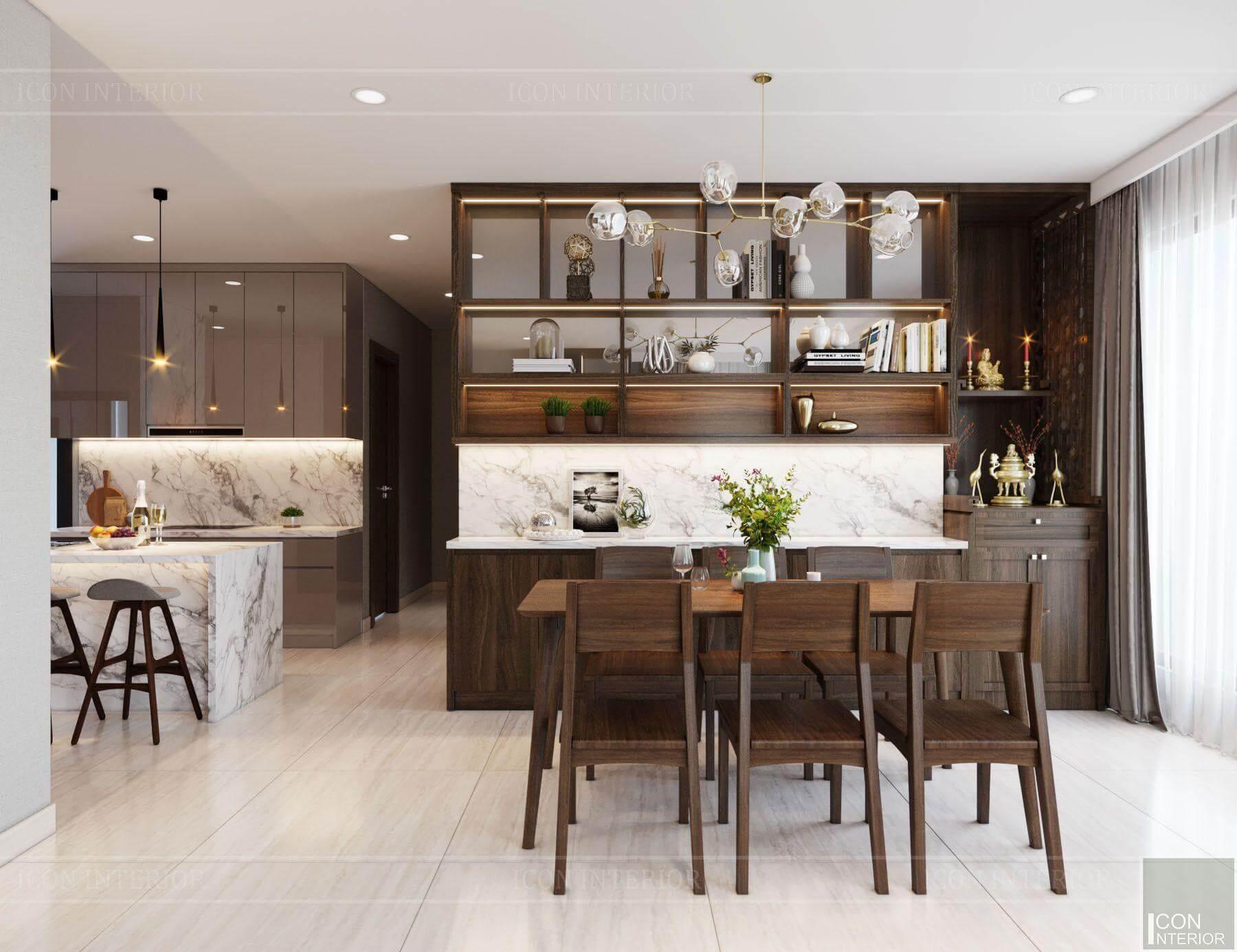 thiết kế nội thất phòng bếp căn hộ 90m2 gỗ tự nhiên