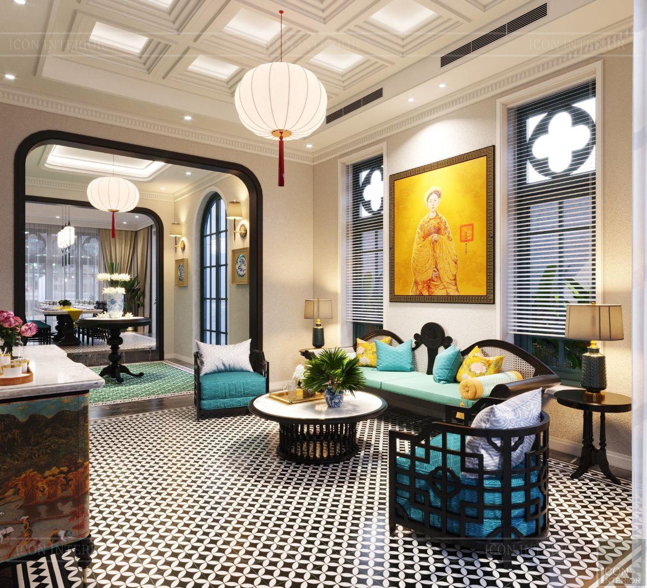 Thiết kế nội thất biệt thự Phú Mỹ Hưng 650m2 Ms. Hoa Indochine