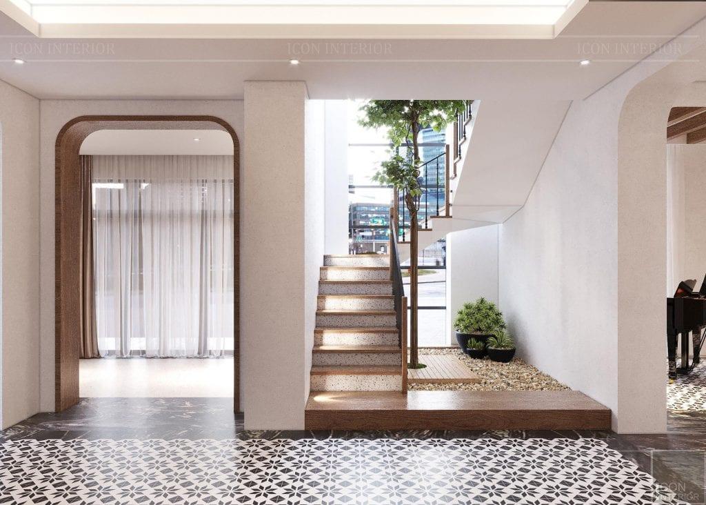 Cầu thang có cây xanh