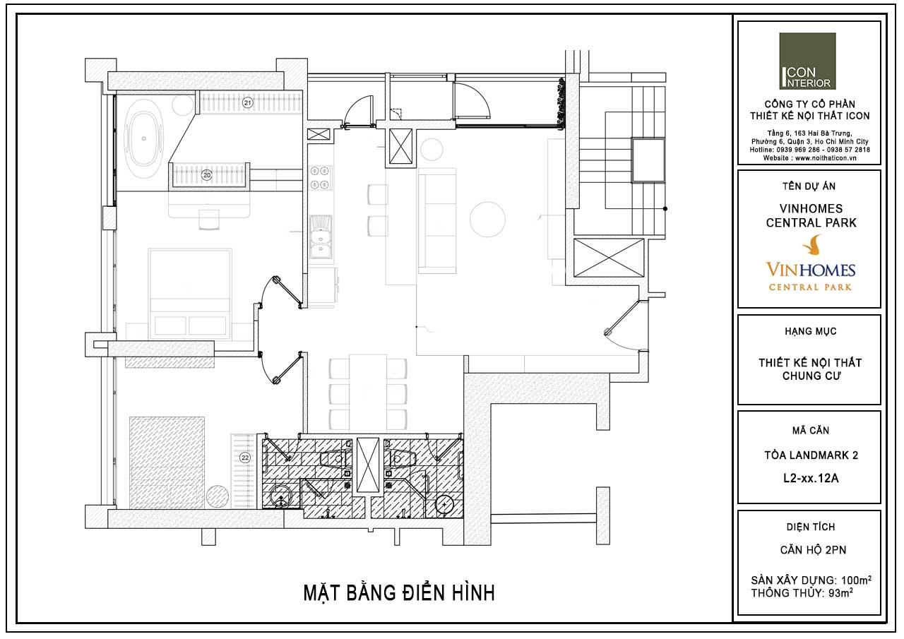 Mặt bằng thiết kế nội thất căn hộ 90m2 Vinhomes Central Park Ms. Linh