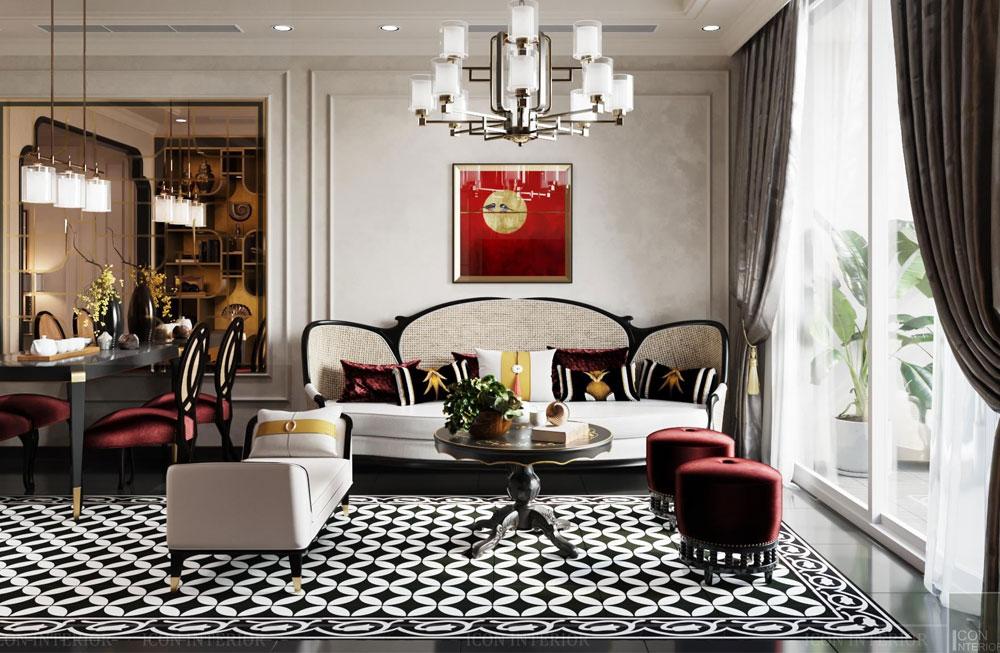 Thiết kế phòng khách phong cách Indochine