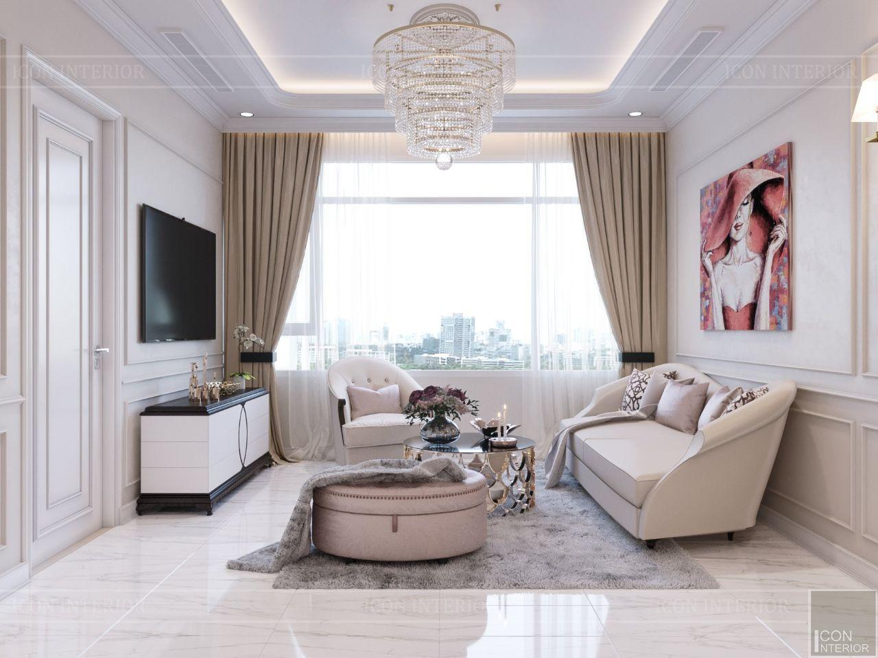 Mẫu thiết kế nội thất chung cư 90m2 Saigon Pealr Ms. Sang - phòng khách