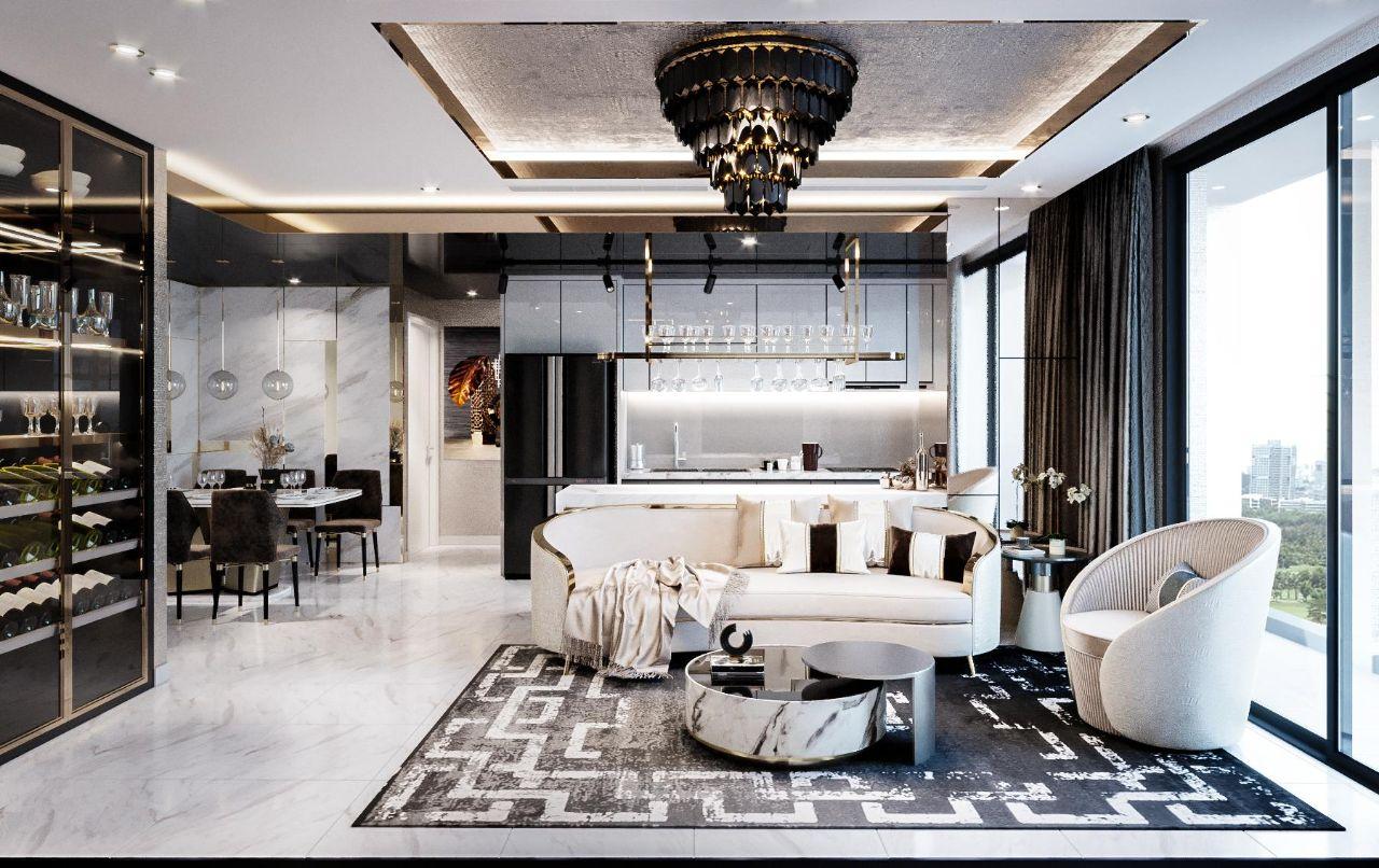 Thiết kế nội thất căn hộ 90m2 Vinhomes Central Park Ms. Linh - phòng khách