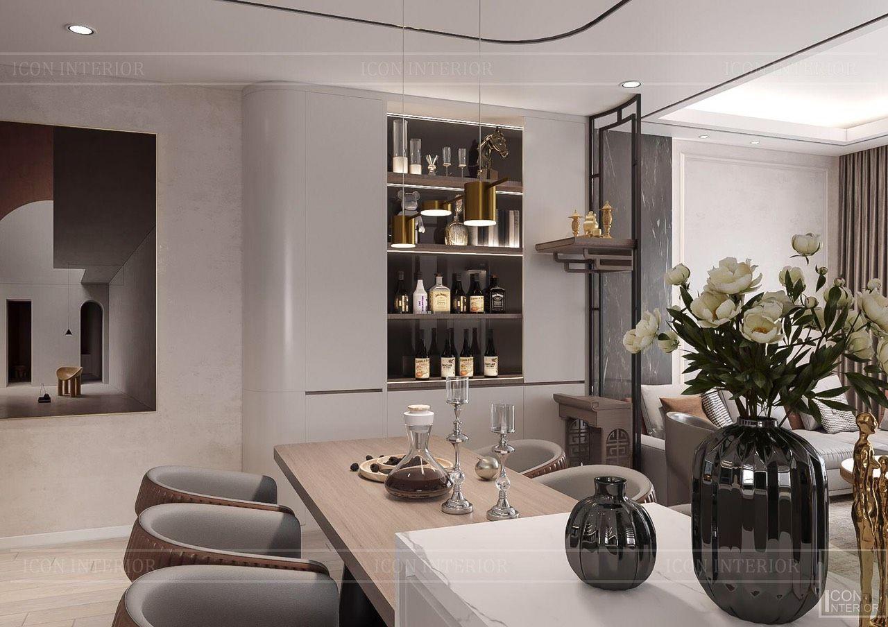 thiết kế nội thất phòng bếp căn hộ 90m2