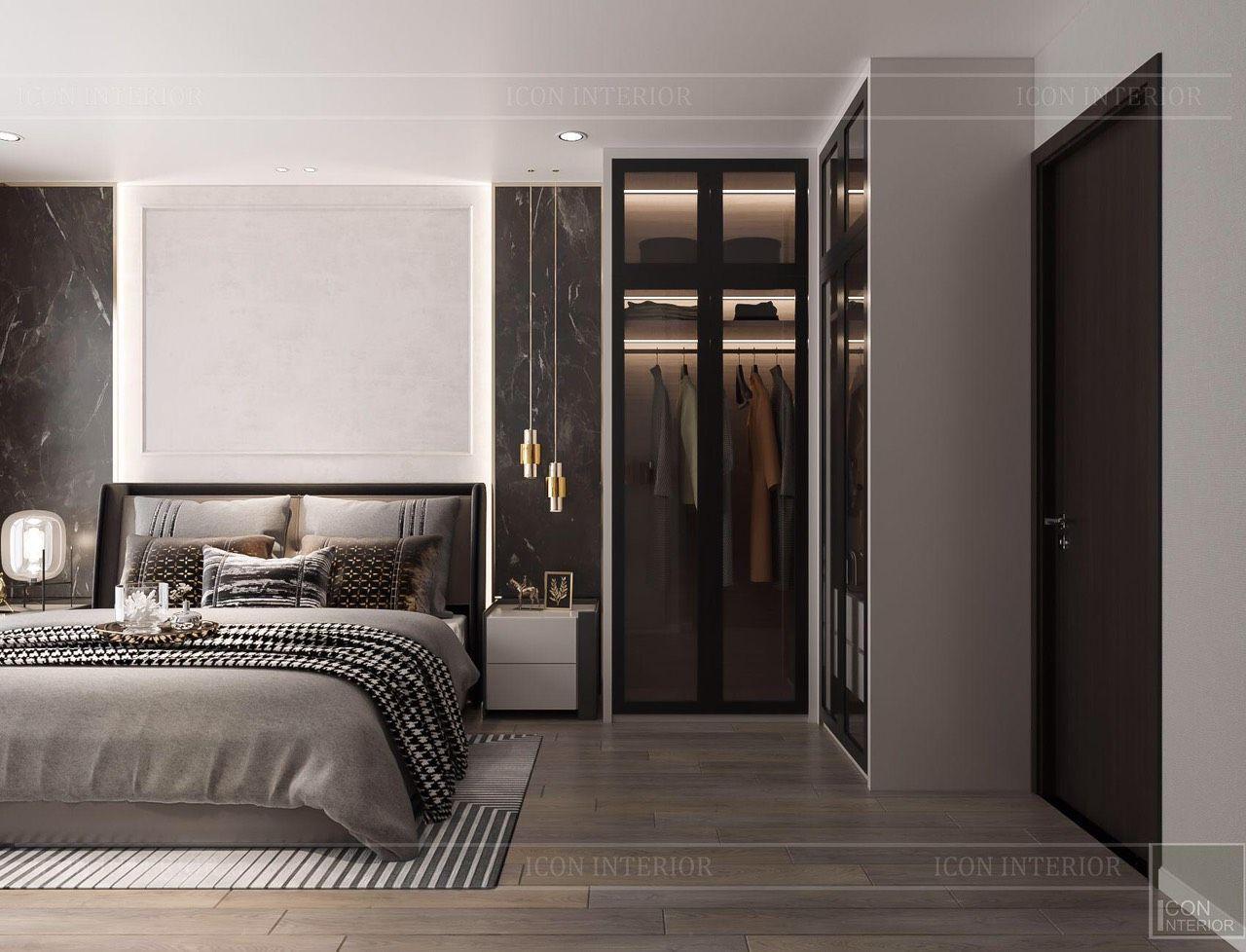 thiết kế nội thất phòng ngủ master căn hộ 90m2