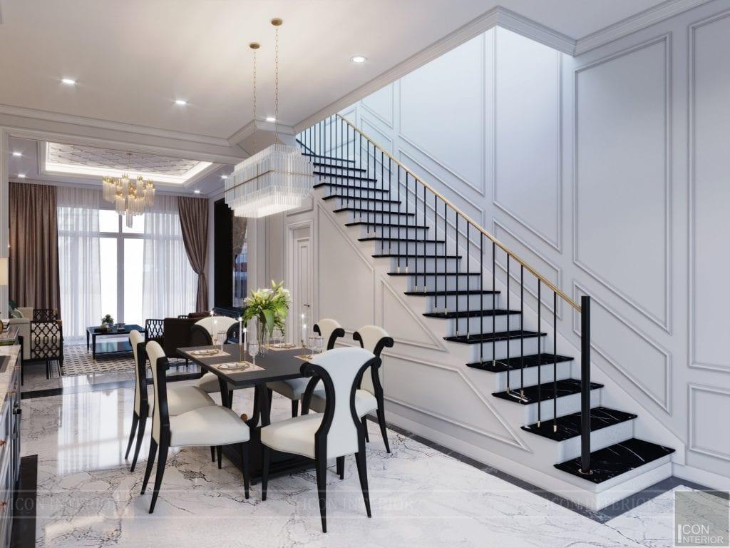 Mẫu cầu thang đẹp nằm dọc theo phong cách hiện đại