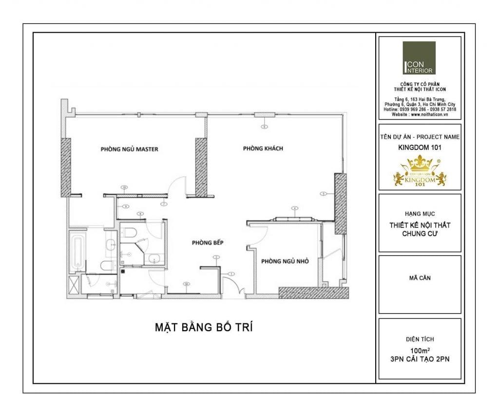 Mặt bằng điển hình căn hộ Kingdom 101 100m2 Mr. Shang