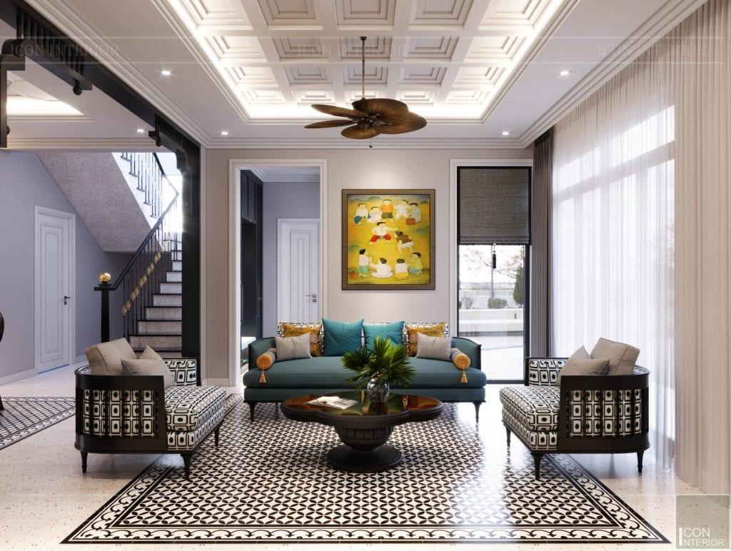 Bố trí nội thất phòng khách Villa Bình Dương