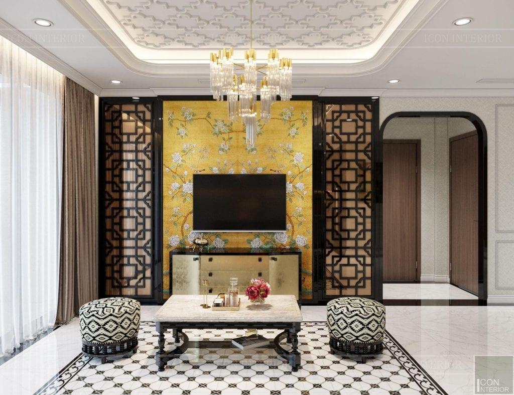 Bố trí nội thất phòng khách căn hộ Vinhomes Central Park 90m2 Chị Ngọc Ánh