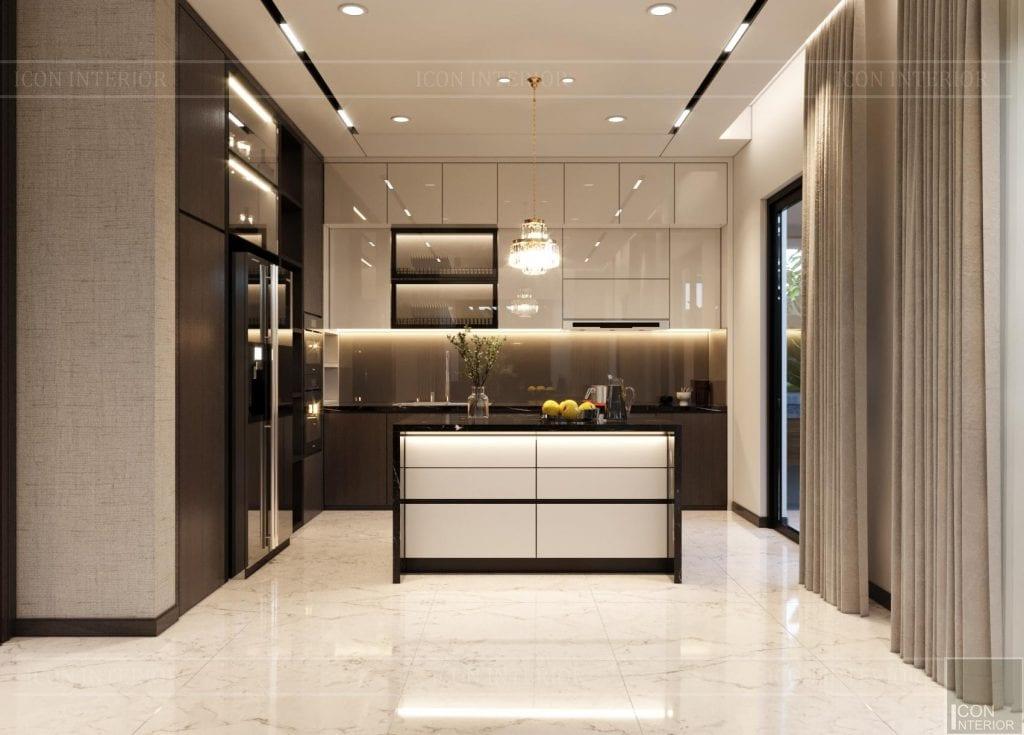 Bố trí tủ bếp đẹp biệt thự Hado Centrosa 420m2 Mr. Tùng