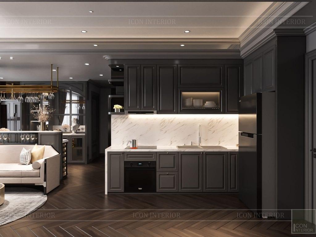 Tủ bếp MDF tông màu sang trọng
