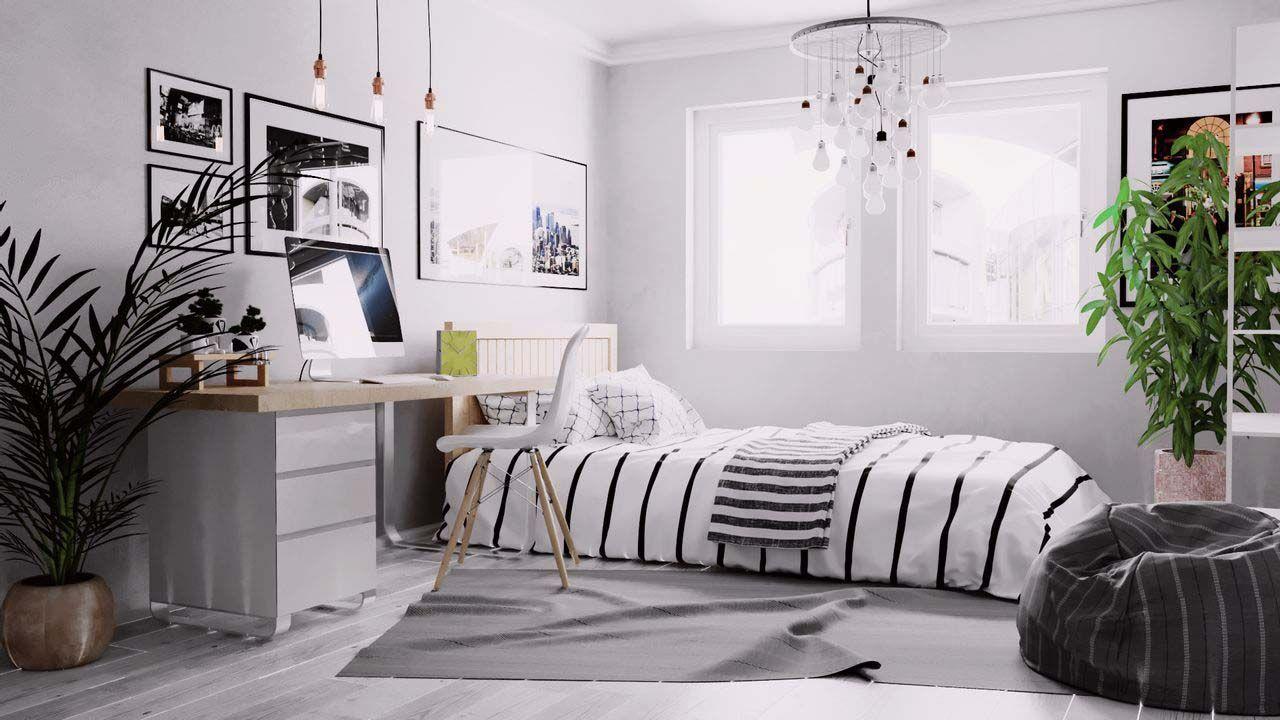 cách trang trí nội thất phòng ngủ tông màu trắng đen