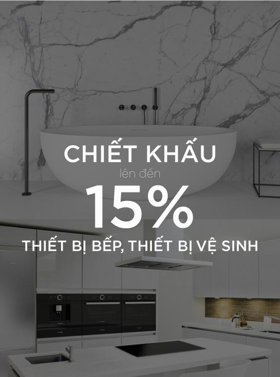 chiết khấu 15% thiết bị bếp