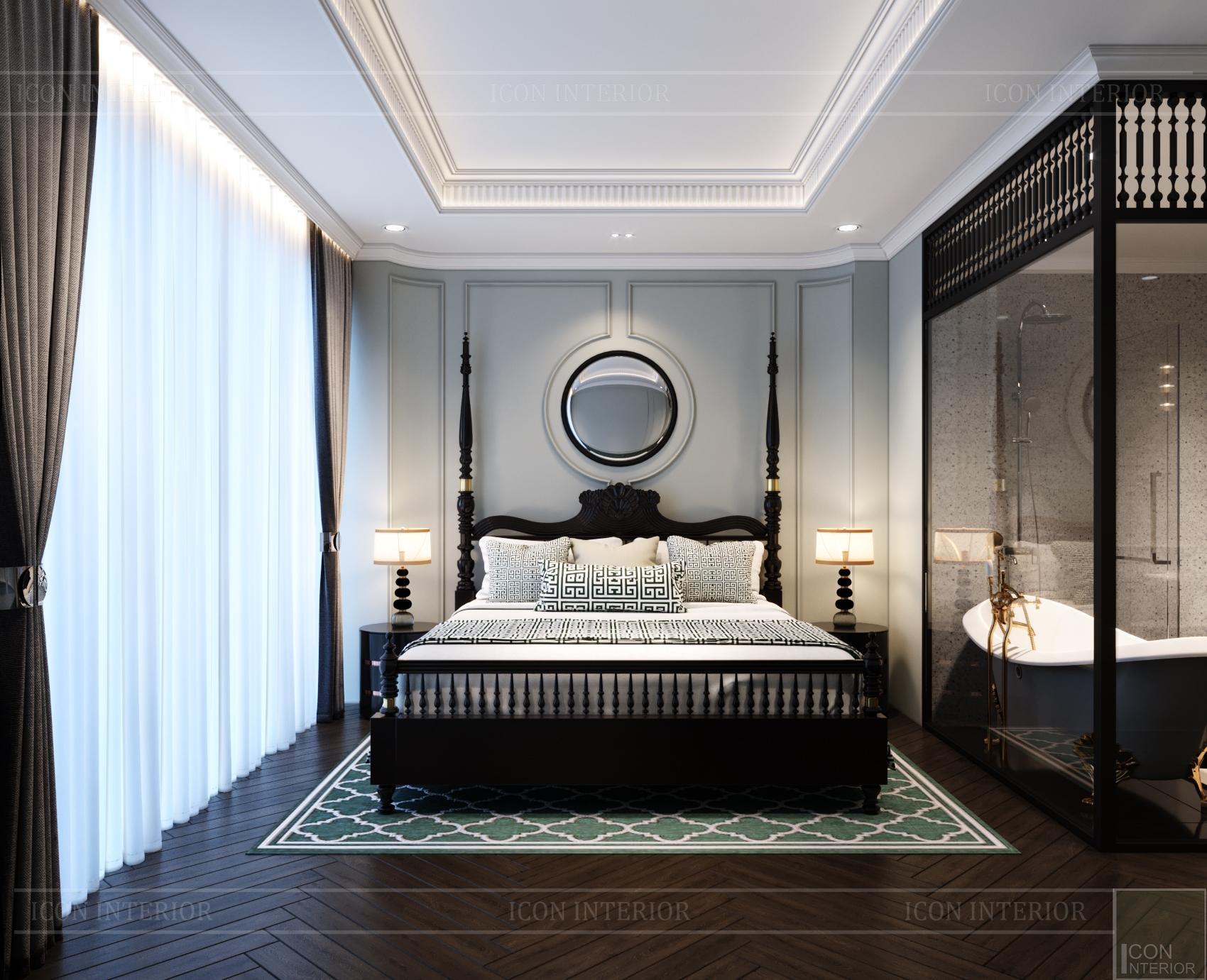 Phòng ngủ Indochine nhà phố Huỳnh Văn Bánh 288m2 Anh Vũ
