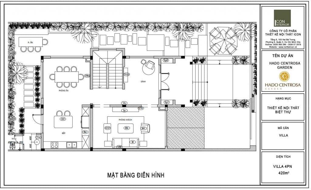Mặt bằng biệt thự Hado Centrosa 420m2 Mr. Tùng