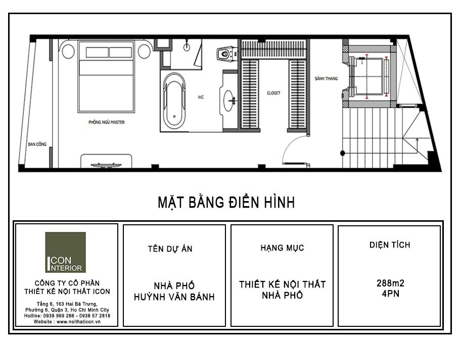 Mặt bằng điển hình nhà phố Huỳnh Văn Bánh